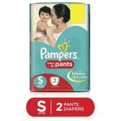PAMPERS BABY DRY PANTS S 4-8KG 2 PANTS
