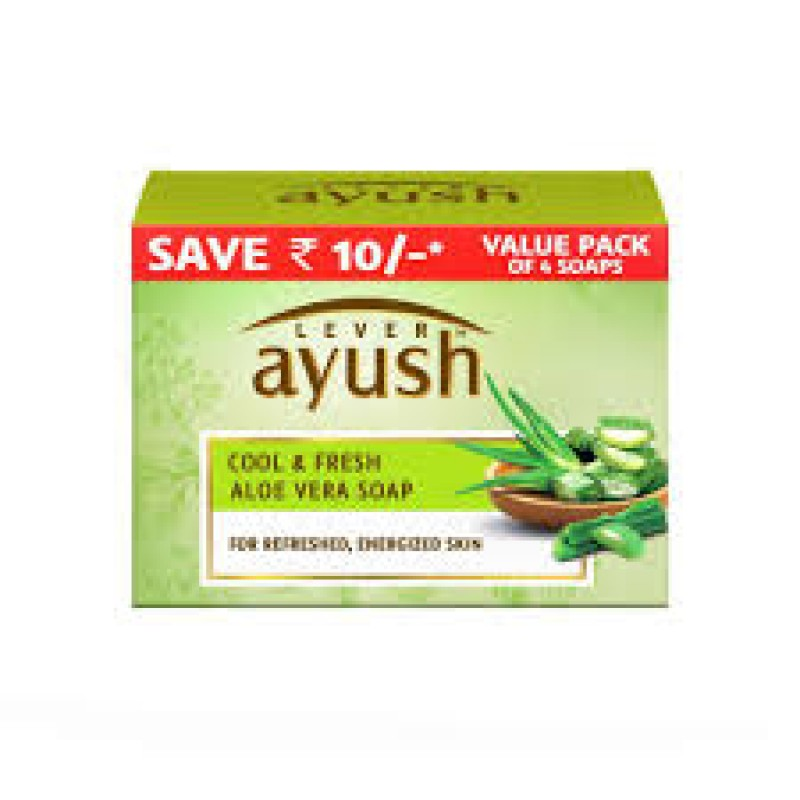 LEVER AYUSH COOL & FRESH ALOE VERA SOAP 100G