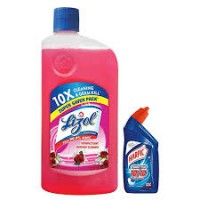 LIZOL DISINFECTANT SURFACE CLEANER FLORAL 975ML+FREE HARPIC POWER PLUS  TOILET CLEANER 200ML