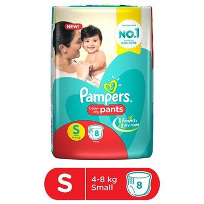 PAMPERS BABY DRY PANTS 4-8 KG S 8 PANTS