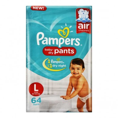 PAMPERS BABY DRY PANTS L 9-14KG 64 PANTS