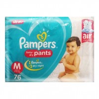 PAMPERS BABY DRY PANTS M 7-12KG 76 PANTS