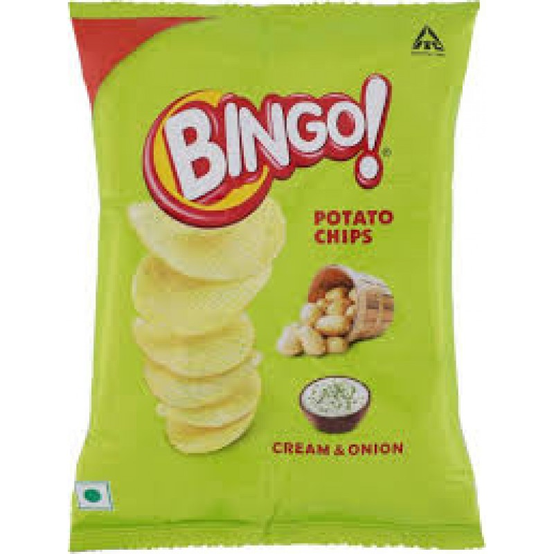 BINGO POTATO CHIPS CREAM & ONION 25G