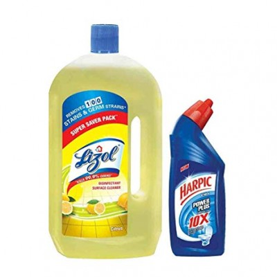 LIZOL DISINFECTANT SURFACE CLEANER CITRUS 975ML + HARPIC 200ML